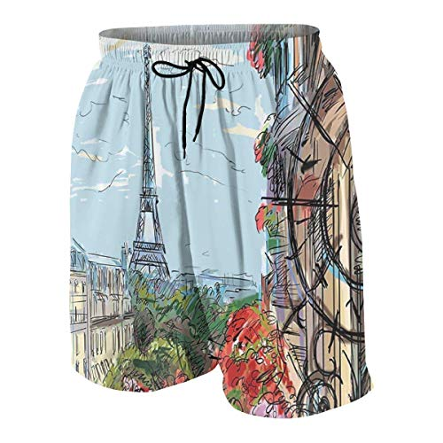 vcbndfcjnd Street in Paris Town Traffic Trees Downtown Urban Boys Beach Shorts Quick Dry Beach Swim Trunks Kids Swimsuit Beach Shorts,Boys' Assist Basketball Shorts L