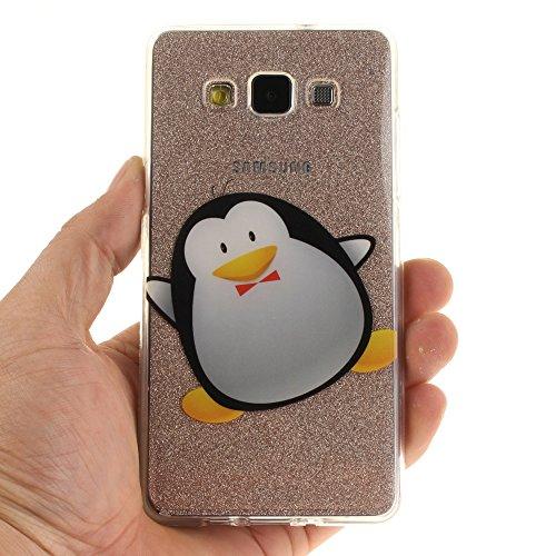 Samsung Galaxy A5 (2015) hülle,MCHSHOP Ultra Slim Skin Gel TPU hülle weiche Silicone Silikon Schutzhülle Case für Samsung Galaxy A5 (2015) - 1 Kostenlose Stylus (Pflaume) Cartoon-Pinguin