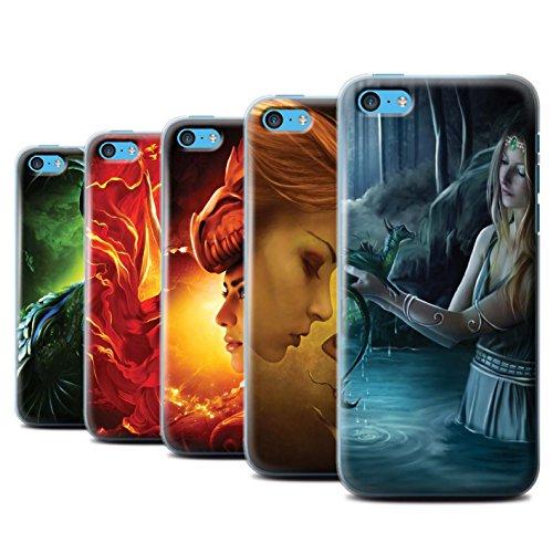 Officiel Elena Dudina Coque / Etui pour Apple iPhone 5C / Fille Rouge Design / Dragon Reptile Collection Pack 5pcs