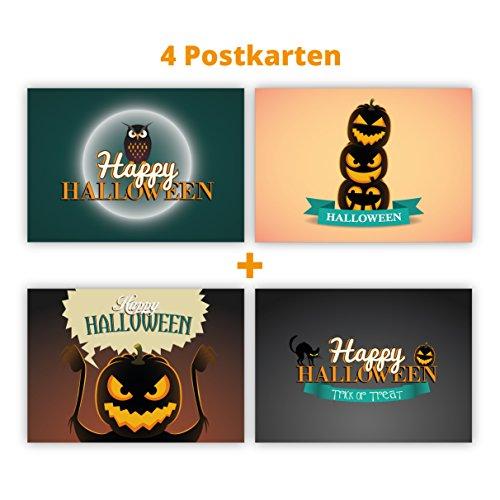 Postkarten mit Kürbis, Eule und Katzen: Happy Halloween (Beste Geschnitzte Kürbisse Für Halloween)