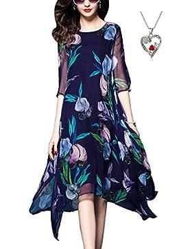 Weiforcarry Moda Donna Girocollo Elegante Stampa 3/4 Maniche di Seta Abito Irregolare