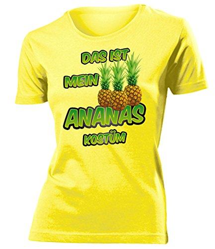 Das ist Mein Ananas Kostüm 5868 Damen Karneval Faschingskostüm Fun-T-Shirts Gelb (Ananas Kostüm Ideen)