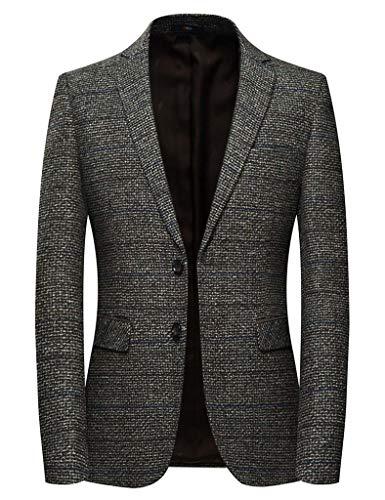 INSFITY Herren Slim Fit Wollmischung Sport Mantel Blazer Jacke - Braun - 49 Regulär