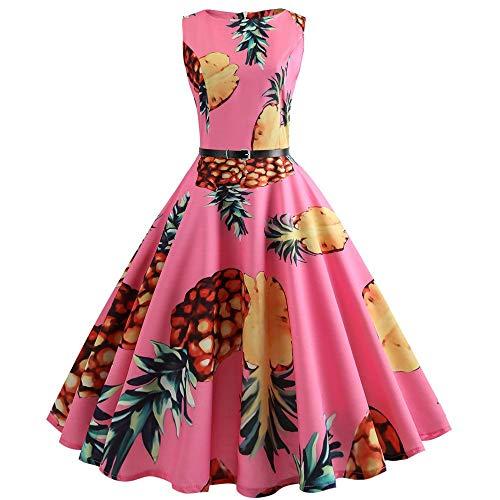 ZT TRADE Womens Vintage Kleider, Frauen Vintage Printing Bodycon ärmellose Casual Abendgesellschaft Prom Swing Kleid für Frauen Damen L,Pink (Womens Dalmation Kostüm)