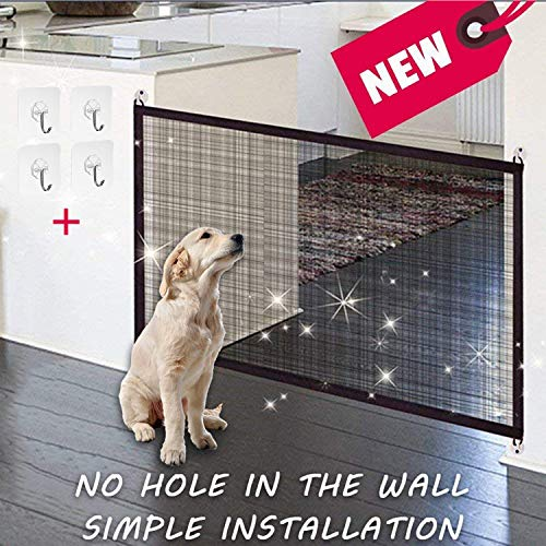 KSNOW Magic Gate - portatile pieghevole Dog barriera di sicurezza, guardia di sicurezza installare ovunque, divisorio per cani in plastica PET Dog isolato mesh cancelletto di sicurezza (43 in * 29 in)