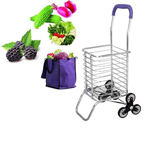 Aluminiumlegierung Leichter, strapazierfähiger Einkaufswagen aus Mikrofaser Faltbar Geeignet für junge Leute, Treppensteigen Leicht zu transportierendes und nicht besetztes Supermarkt-Reisepicknick,J
