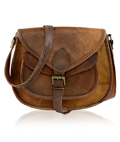 - 511XPfY 2BHeL - J WILSON London – Designer Genuine Real Distressed Retro Vintage Hunter Leather 11″ Handmade Women Ladies Unisex Flapover Gypsy Festival Travel Satchel Everyday Crossover Work iPad Shoulder Bag