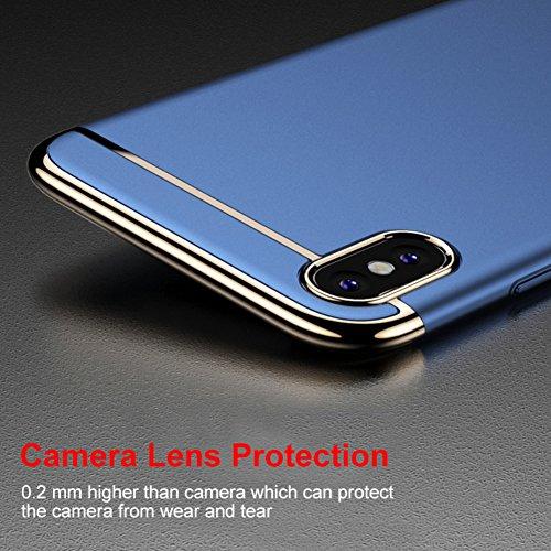 Apple iPhone X Hülle, DEMEDO (3-IN-1 Serie), Kamera-Objektivschutz, 360 ° Schutzhülle für iPhone X, Fünf Farben sind optional - Schwarz Rosa