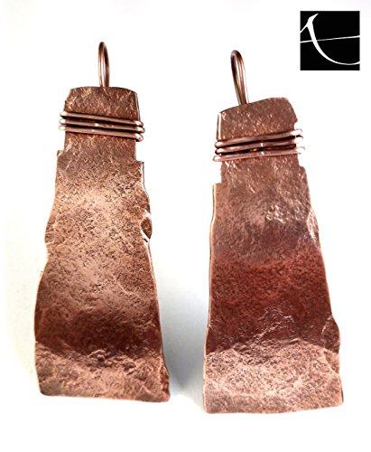 orecchini artigianali, in rame, martellato a mano, stile etnico, tribale, copper earrings hammered handmade - Martellato Orecchini Di Stile