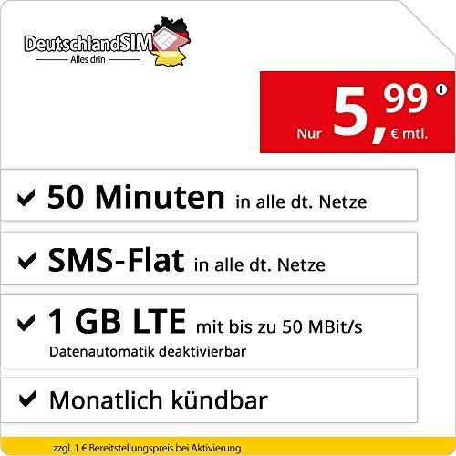 DeutschlandSIM LTE Mini SMS 1 GB - monatlich kündbar (1 GB LTE mit max. 50 MBit/s mit deaktivierbarer Datenautomatik, 50 Minuten, SMS-Flat, EU-Ausland inklusive, 5,99 Euro/Monat)