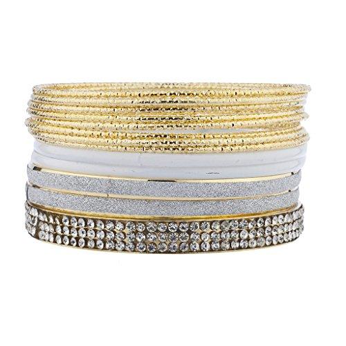 LUX Zubehör goldfarbenes Kristall Weiß Strass Glitter Multi Armreif Armband Pack Set (Crystal Wire Armreif)