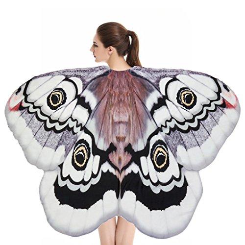 Chiffon Umschlagtücher, ESAILQ Damen Lange Schmetterling Flügel Weiche Schal überwurf Fairy Damen Nymphe Pixie Kostüm Zubehör 180X145CM / 185X145CM (Weiß, 180X145CM)