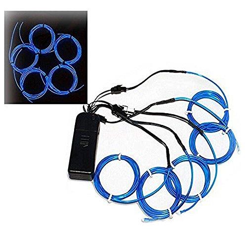 ALED LIGHT® 5 * 1 M El alambre que brilla intensamente del efecto estroboscópico Kit electroluminiscente con el regulador batería para fiestas, Halloween, automotriz, decoración del anuncio (Azul)