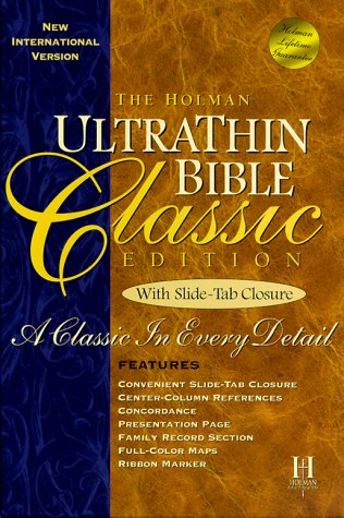 The Holman Ultrathin Bible Classic Edition With Slide-Tab Closure: Blue Bonded Leather Classic Blues Tabs