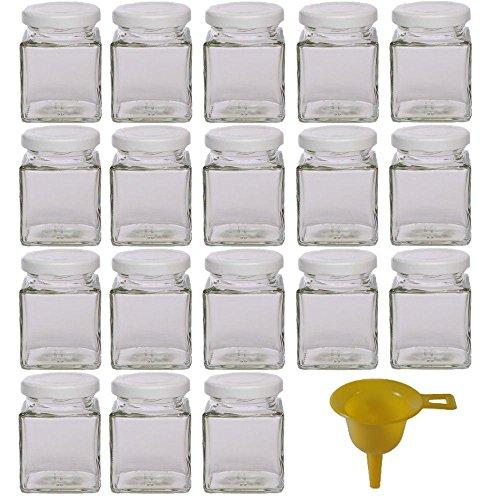 Viva Haushaltswaren - 18 x kleines Marmeladenglas / Gewürzglas 106 ml mit weißem Schraubverschluss, Gläser Set mit Deckel als Einmachgläser, Gewürzdose etc. verwendbar (inkl. Trichter)