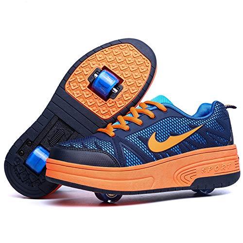Homesave Unisex-Kinder Skateboard Schuhe Kinderschuhe mit Rollen Skate Shoes Rollen Schuhe Sportschuhe Laufschuhe Sneakers mit Rollen Kinder Jungen Mädchen,OrangeDouble,37EU - Skateboard Schuh