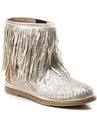 84c74dfe9cd006 HERIXO Damen Schuhe Stiefel Schlupfstiefel Gold Silber Fransen Mokassin  Ibiza Indianer Western-Style Boho Stiefeletten Glitzer Glitter…