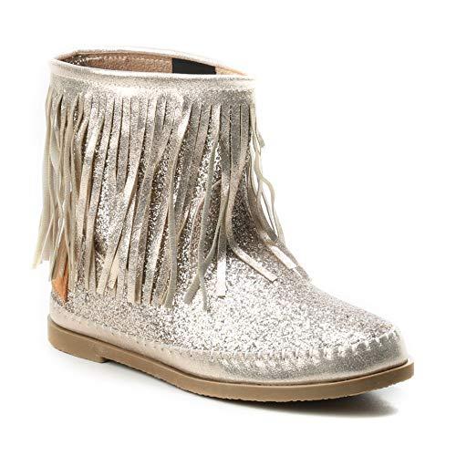 HERIXO Damen Schuhe Stiefel Schlupfstiefel Gold Silber Fransen Mokassin Ibiza Indianer Western-Style Boho Stiefeletten Glitzer Glitter Glanz Metallic (39 EU, Gold) -