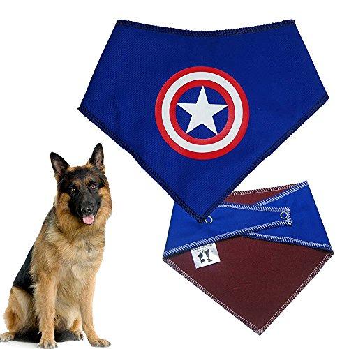 (Spoilt Rotten Pets (S4) Captain America Superhero Dog Bandana Hals verstellbar, groß auf extra/Große Hunde–Halsumfang 58,4cm–71,1cm Allgemein passt Chow Chow, Deutscher Schäferhund, ST BERNARD, Dogue de Bordeaux und ähnlich große Hunde.)