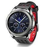 Greatfine 22MM Silicone Remplacement Bracelet Bande pour Samsung Gear S3 frontier / S3 Classic / Gear 2 R380 Neo R381 Live R382 / MOTO 360 2nd/Pebble Time / LG G Watch W100/W110/Urbane/Garmin Vivomove Sport / Garmin Vivomove Classic/ Fitbit Versa (Black Red)