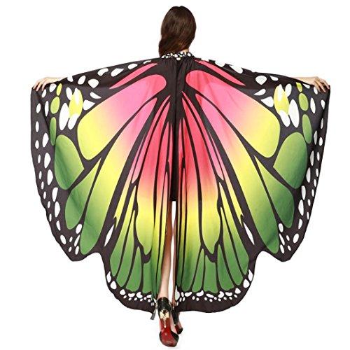 HKFV Frauen Schmetterling Wings Schal Schals Damen Nymph Pixie Poncho Kostüm Zubehör Mit Armband Flügel und Schalen Schal Pashmina (Grün) (Gestreiften Grün Schal)