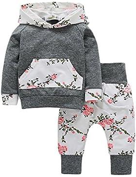 Babykleidung,Honestyi 2er Kleinkind Baby Boy Mädchen Kleidung Set Floral Hoodie Tops + Hosen Set Outfits