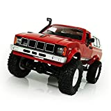 TOOGOO WPL C-24 1/16 echelle RC Voiture Roche Chenille 4WD Hors Route Militaire Camion Jouet Rouge
