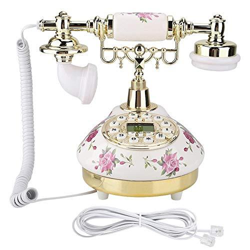 Tangxi Fixed Digital Europäische Retro Vintage Antikes Telefon Altmodisch mit Druckknopf für Wohnkultur, mit Anzeige für eingehende Anrufe und Wahlwiederholung mit Einer Taste