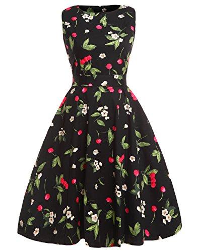 Fairy Couple 50er Coctailkleid im Vintage-/Retro-Stil mit Blumenprint und einer Schleife Gr. S, cherry (Mädchen Kleid Cherry)