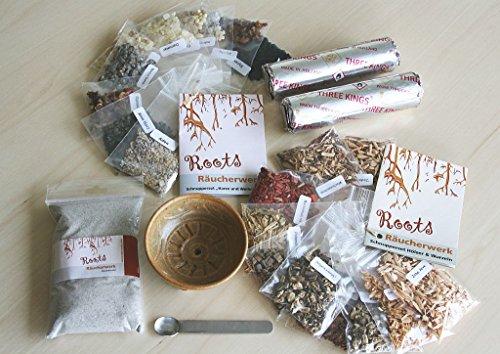 Räucherset 25-teilig Starterpaket mit 50g Harze & Weihrauch sowie 50g Hölzer & Wurzeln Schale Sand Löffel und Kohle (Weihrauch-harz Weihrauch)