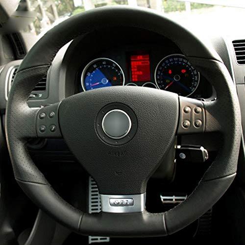 KDKDKLMB Coprivolante Coprivolante per auto fai da te in pelle nera, per Volkswagen Golf 5 Mk5 GTI, per VW Golf 5 R32 Passat R GT 2005-Filo nero