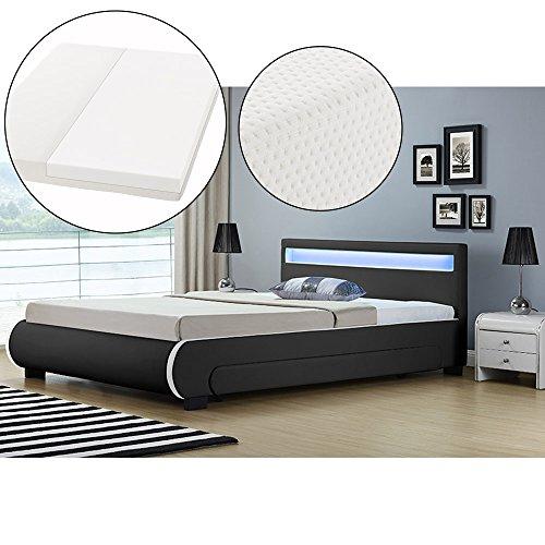 ArtLife Polsterbett Bilbao mit Kaltschaum-Matratze, Lattenrost, Bettkästen und LED Beleuchtung | 180 x 200 cm | schwarz | Bett Doppelbett