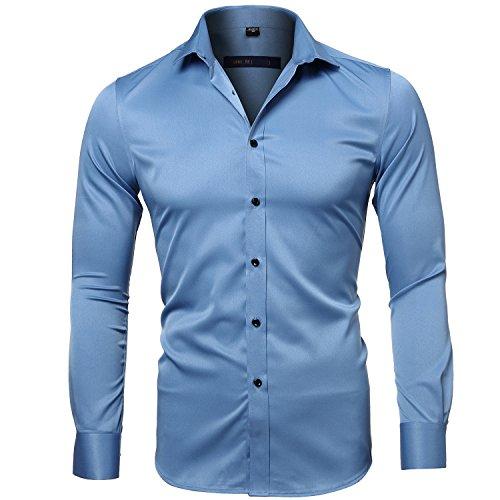 Harrms camicia elastica di bambù fibra per uomo, slim fit, manica lunga casual/formale, blu acqua, 39 (collo 39cm, petto 100cm)
