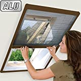 Insektenschutz Fliegengitter Plissee für Dachfenster 100 x 160 cm Alu-Rahmen in Braun Fiberglasgewebe in Anthrazit Dachfensterplissee