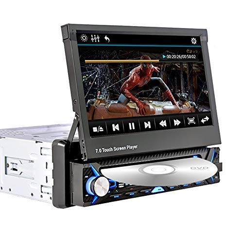 1 DIN-Car-Multimedia-Stereo-CD-Player mit DVD-Player, 7-Zoll-Touchscreen-Monitor, Bluetooth, FM / USB / SD / MP4 / MP3 / AUX