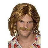 Smiffys Homme, Perruque & moustache cavalier des années 70, Brun, cheveux mi-longs , 42005