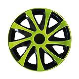 (Farbe & Größe wählbar) 14 Zoll Radkappen, Radzierblenden Draco Bicolor (Schwarz/Grün) passend für fast alle Fahrzeugtypen (universal)