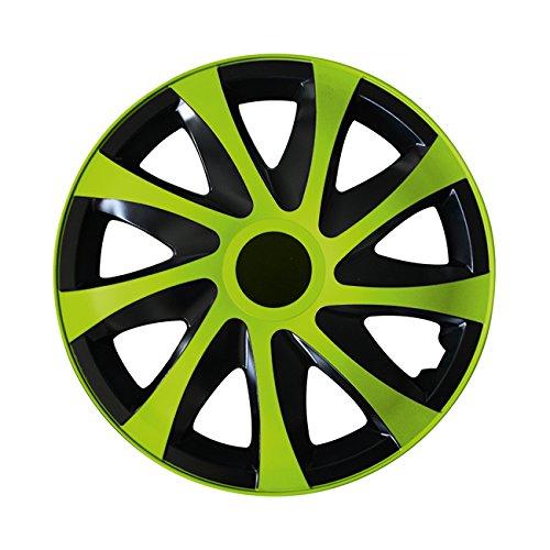 Eight Tec Handelsagentur (Farbe & Größe wählbar) 15 Zoll Radkappen, Radzierblenden Draco Bicolor (Schwarz/Grün) passend für Fast alle Fahrzeugtypen (universal)