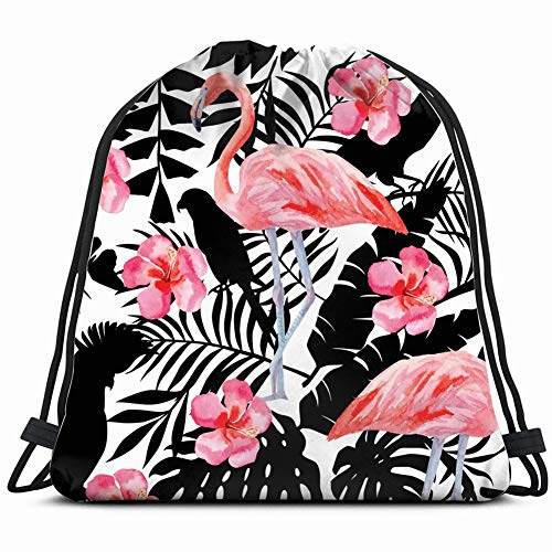 silhouette tropic exotic animals birds parrot wildlife Drawstring Backpack Gym Sack Lightweight Bag Water Resistant Gym Backpack for Women&Men for Sports,Travelling,Hiking,Camping,Shopping Yoga -