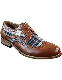 Chaussures homme vintage rétro style brogue cuir PU morron ou noir et tissu à carreaux