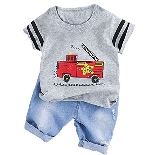 Kostüm Feuerwehrauto Kleinkind - Plzlm Baby-Jungen-Kleidung-Klagen Fire Truck-T-Shirt Shorts Kinder-Kind-Kostüm Sommer Kleinkind-Säuglingskleidung Set