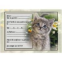 cartes invitation anniversaire chat par 12 avec enveloppes réf 24