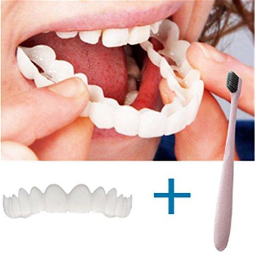 happy event Teeth whitening + Zahnbürste | Zähne Zahnaufhellung Bleaching Set | Schmerzfrei Prothesenkleber