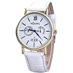 Men Wrist Watches - HUANS Men Rome digital Article Leather Band Quartz Wrist Watches White Band+Gold Dial