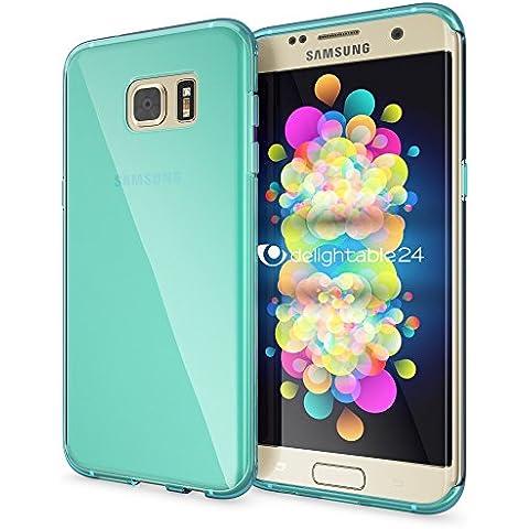 delightable24 Cover Case in Silicone TPU per Smartphone SAMSUNG GALAXY S7 EDGE - Transparente Turchese - Pietra Preziosa Del Turchese Giallo