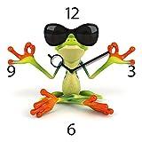 Wanduhr aus Glas, Time To Relax, Meditierender Frosch mit Sonnenbrille, 30x30 cm von Eurographics