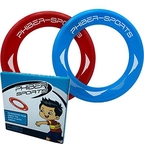 PHIBER-SPORTS Frisbee-Ringe - 2er Doppelpack Premium Wurfringe - 80{e75ff9647d1dce7e3bffc4b086b3b473c54a2c6f97e9faf7d2541fe4e598fee9} Leichter als Standard Frisbee Scheiben - Einfach zu fangen - Perfekte Flugbahn - Ideal für Kinder und Erwachsene
