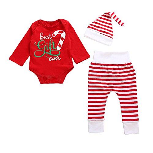 Beautydecor Baby-Kleinkind-Jungen-Mädchen-Nettes Bestes Geschenk Überhaupt Spielanzug-Gestreifter Hut-Hose-Weihnachtsausrüstung size (Cane Candy Hut)