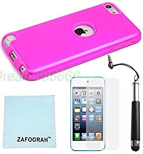 iPod Touch 5th 6th Generation Case, iPod Touch 5/6 Case Genuine ZAFOORAH Hard Metal Aluminium with 3 Bonus items Stylus, Screen Protector, Microfiber Cloth(Hard Aluminium - Dark Pink)