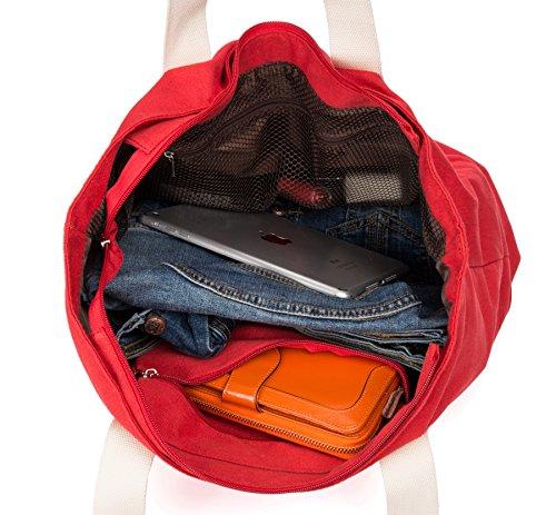 Malirona Sacchetto di Tote Grande di Borsa di Tote da Spiaggia 2-in-1 con il sacchetto di spiaggia della tela di canapa dell'organizzatore di pattini Rosso